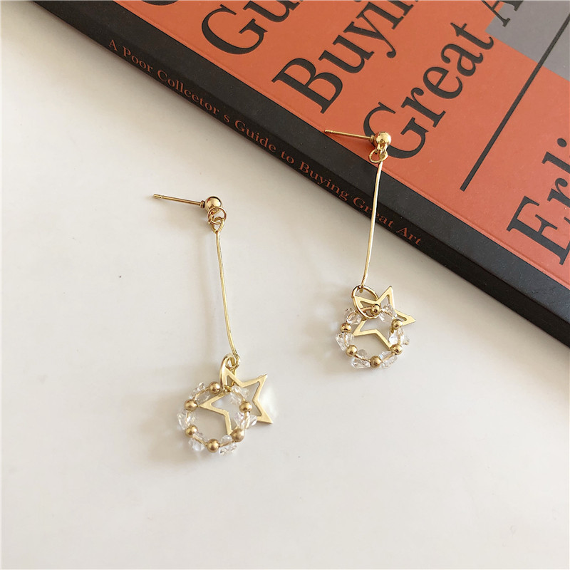 Long hollow out star tassel earring earrings female personality beaded ring ear nail five-pointed star ear clip