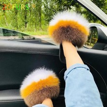 ZDFURS 2020 Hot Sale Women Fox Fur Slippers Multicolor Summer Fashion Slides Outdoor Female Furry Indoor Flip Flops Beach Sandal