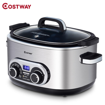 Costway 4-in-1 6 Quart Stainless Multi Cooker Stove Top Slow Cook Oven Steam LED Display Steaming Rack Fork Multi Cooker EP23560 1