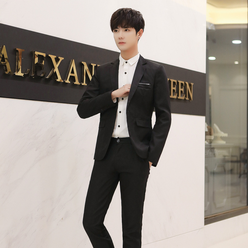 Suit MEN'S Suit Korean-style Slim Fit 2019 New Style Autumn And Winter Trend Handsome Youth Casual Two-Piece Set MEN'S Suit