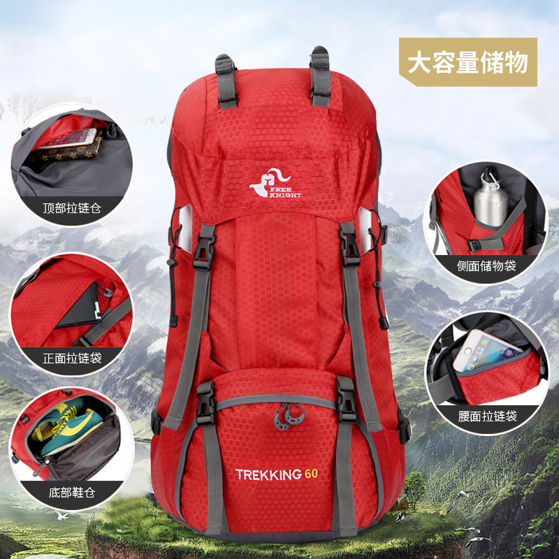 Hot Selling 60L Mountaineering Bag Waterproof Outdoor Backpack Doubles Up Hiking Backpack With Rain Cover