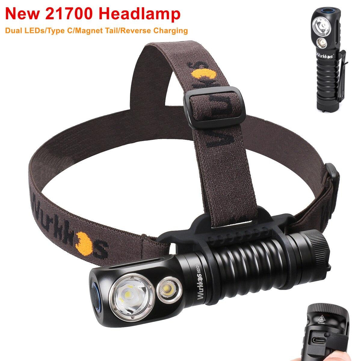 Wurkkos HD20 Перезаряжаемые фары 21700 светодиодный светильник 2000lm двойной светодиодный LH351D PL с Тип C обратная зарядка Магнитный хвост