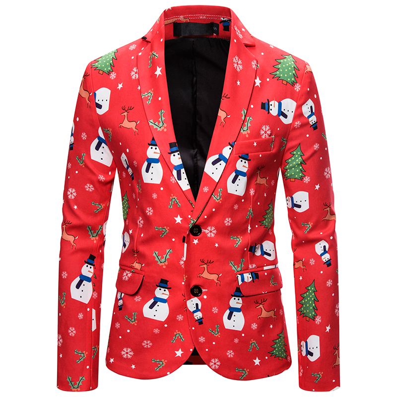 2019 Brand Men Suit Jacket Mens Cartoon Christmas Printed Blazers Jacket For Party Casual Fashion Christmas Slim Fit Jacket