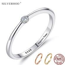 Silverhoo 925 anéis de prata esterlina para as mulheres bonito zircão redondo geométrico 925 prata anel de casamento jóias finas presente minimalista