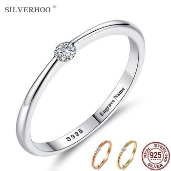 SILVERHOO 925 Sterling Silver Rings for Women Cute Zircon Round Geometric Wedding Ring Fine Jewelry Minimalist Gift - discount item  50% OFF Fine Jewelry
