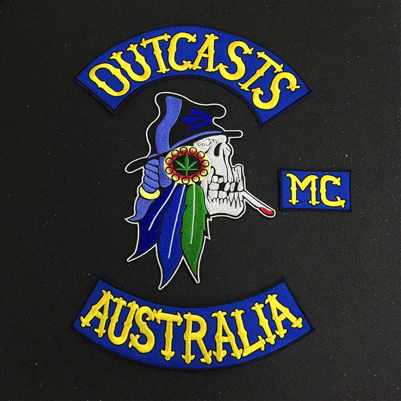 Australia Outcasts <font><b>MC</b></font> Embroidered Rocker Iron on <font><b>Patch</b></font> Jacket Rider Motorcycle Biker back <font><b>Patches</b></font> (<font><b>1</b></font> set/4pcs) image