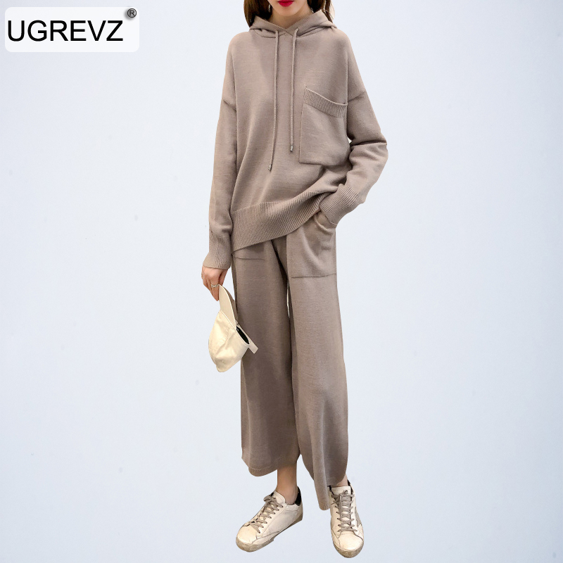 High Quality Elegant Ladies Hooded Sweaters 2 Pieces Sets 2019 New Autumn Sweater Knitted Pants Sets Fashion Women Sweater Suits
