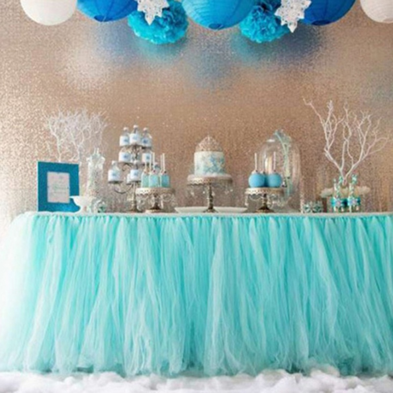 Exquisite Tulle Table Skirt For Rectangle Tables Stretch Yarn For Knitting Pleated Tutu Table Skirting For Birthday Party