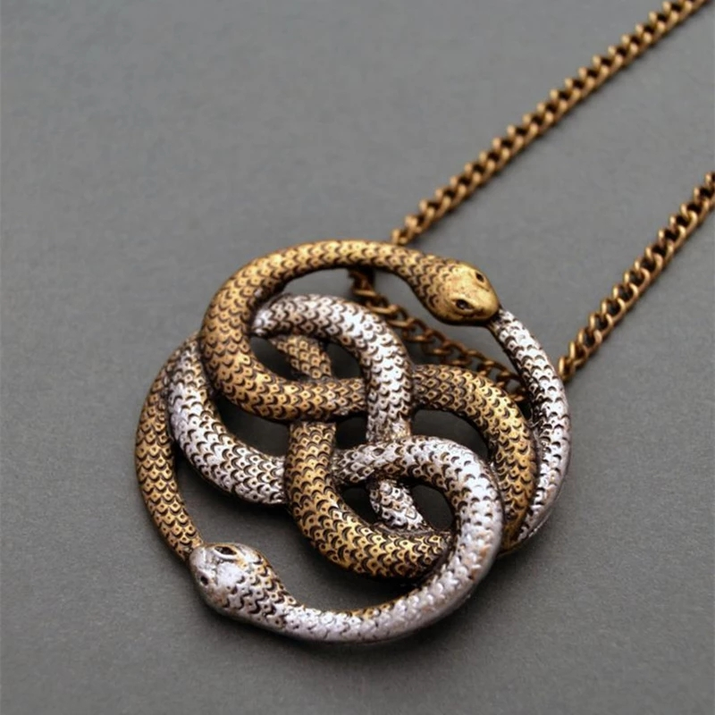 Simple Auryn Infinite Snake Pendant Necklace Fashion Jewelry Women Men Snake Knot Ouroboros Chain Statement Necklace Accessories