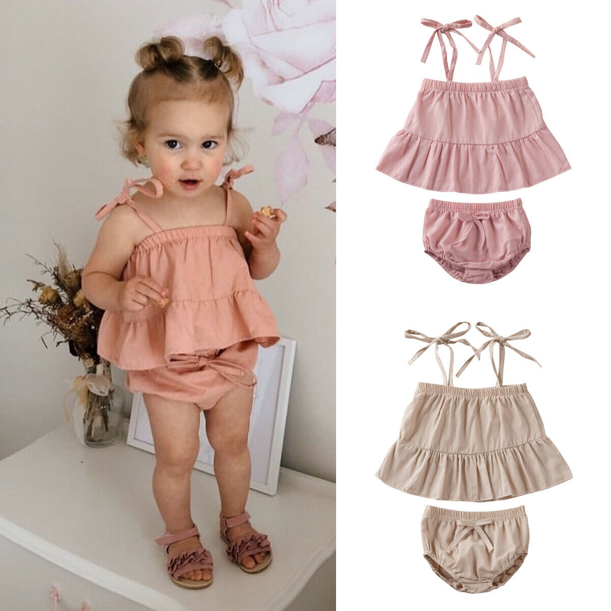 2Pcs Summer Baby Girl Clothes Solid Newborn Kid  Ruffle Sling Tops Shorts Pants Outfit Clothes Set