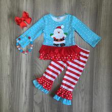 Del bambino delle ragazze di Inverno Di Natale babbo natale di colore rosso blu del puntino di polka pantaloni set di cotone boutique increspature dei bambini dei pantaloni partita accessori