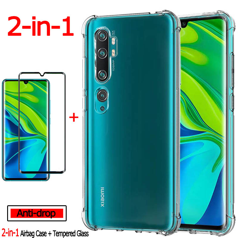 1-3Kits Glass + 360 Full Cover Case For Xiaomi Mi-Note-10 Airbag Case 8T Mi10 Note Clear TPU Back Case Redmi Note8 Pro Mi Note10