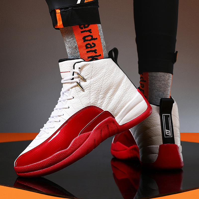New Men's Professional High-top Basketball Shoes Men's Shock-absorbing Lightweight Basketball Sports Shoes Non-slip Breathable O
