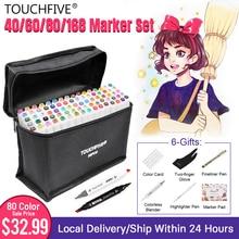 Touchfive סמני עט סט 40/60/80/168 צבע אנימציה סקיצה סמן כפול ראש ציור אמנות מברשת עטים אלכוהול מבוסס עם 6 מתנות