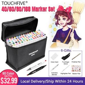 Image 1 - Touchfive סמני עט סט 40/60/80/168 צבע אנימציה סקיצה סמן כפול ראש ציור אמנות מברשת עטים אלכוהול מבוסס עם 6 מתנות