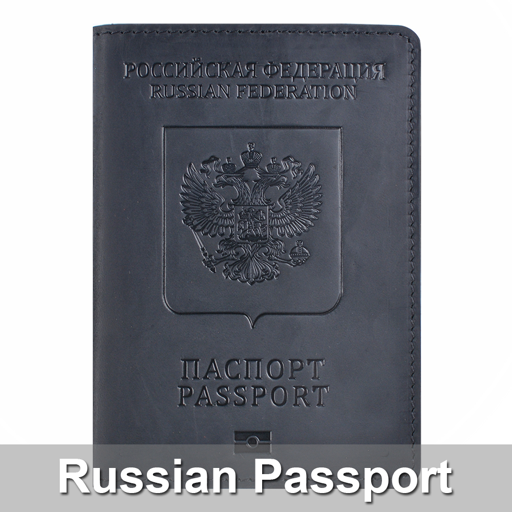 Genuine Leather Passport Cover Bilingual Version Designed For Russian Federation Crazy Horse Leather Card Holder Passport Case