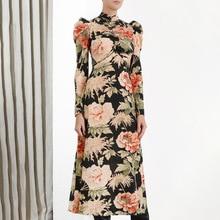 Black Dress 2019 Autumn New Fashion Retro Printing Collar Shrug Long Sleeve Slim Wrinkle Woman Print Women