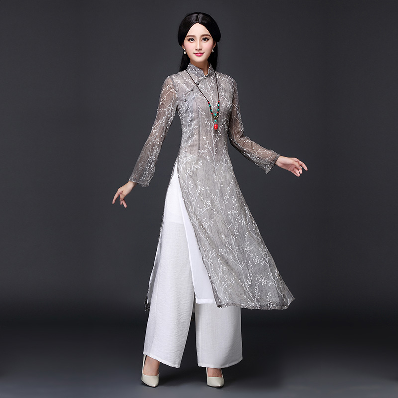 2019 Aodai Vietnam Cheongsam Dress For Women Traditional Clothing Floral Ao Dai Dress