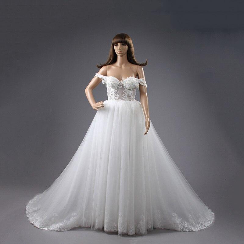 New Arrival Wedding Dress Free Shipping See Through A-line Lace Appliques White Vestidos De Novia Real Sample Wedding Dress 2020