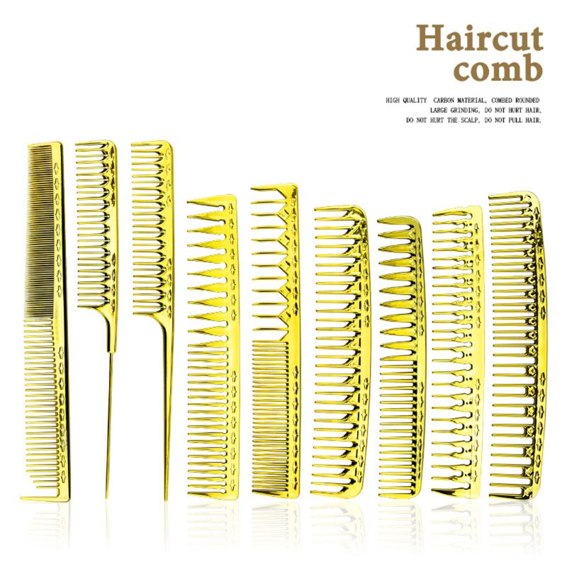 Multi-function Electroplating Golden Barber Comb Light Portable Men Women Combs Y98B