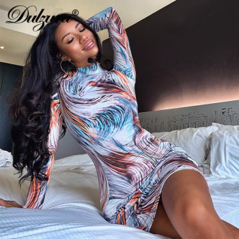 Dulzura print women mini dress long sleeve bodycon sexy party streetwear 2020 spring summer clothes slim outfit elegant clubwear 2019 spring new women half sleeve loose flavour black dress long summer vestido korean fashion outfit o neck big sale costume