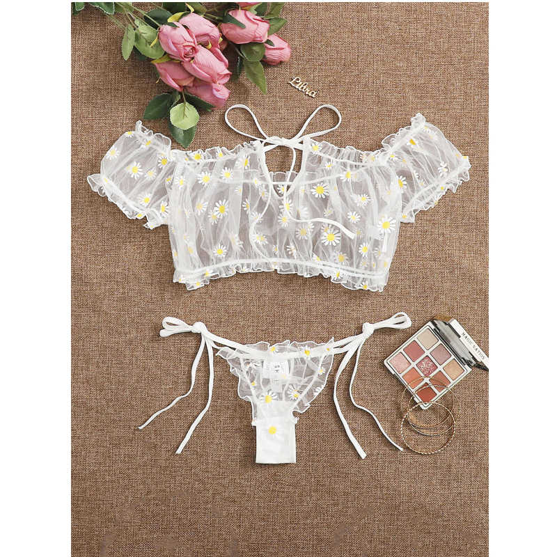 Babydoll 2Pcs Women's Pajamas Sexy Lingerie Thongs +Tops Daisy Print Lace Transparent See-through Panties Sexy Costumes