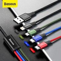 BASEUS – Câble USB vers 4 ports, pour smartphone, sortie double Type-C, micro USB, iPhone 11 Pro XR XS Max 7, Samsung S20, Xiaomi,