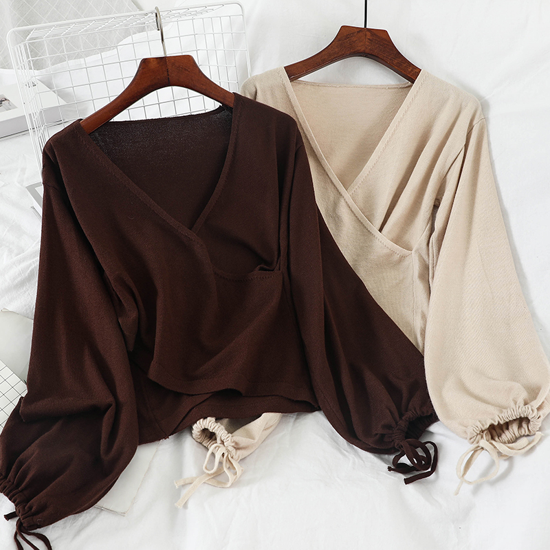 GLAUKE 2020 V-neck Draw String Hubble-bubble Sleeve Knit Female Sweaters Women Fashion Sexy Sweater Loose Sweater Pullover