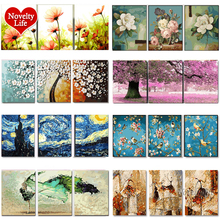3 Pcs Diy Olieverfschilderij Door Nummers Bloem Drieluik Pictures Animal Coloring Landschap Abstract Verf Muur Sticker Home Decor Gift
