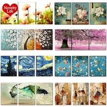 숫자로 3 pcs DIY 유화 꽃 삼부작 그림 동물 색칠 풍경 추상 페인트 벽 스티커 홈 장식 선물