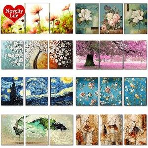 Image 1 - 3 sztuk DIY obrazy olejne według liczb kwiat tryptyk zdjęcia zwierząt kolorowanie krajobraz abstrakcyjna farba naklejka ścienna Home Decor prezent