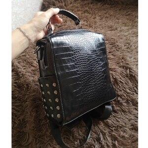 Image 5 - Fashion Women Leather Backpacks New Crocodile Pattern Travel BackPack Rivet Shoulder Bag Backpacks for Girls School Bag Backpack