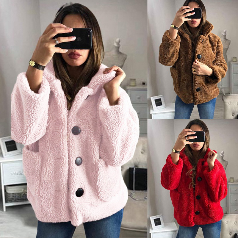 HEFLASHOR Women's Plush coat autumn winter Women Button Jacket Casual Warm turndown collar fur Outwear Mid-Length Woolen jackets 14