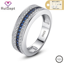HuiSept de moda 925 anillo de plata de la joyería de zafiro de piedras preciosas anillos de adornos para mujer promesa de boda fiesta regalo venta al por mayor