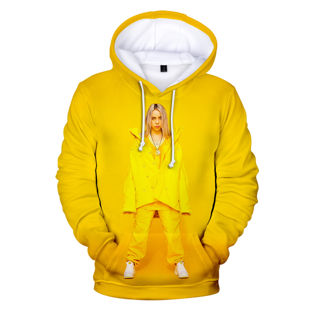 3D Hoodies Singer Billie Eilish Sweatshirts Women Men Hoodies 3D Print Character Idol Billie Eilish Kids Fall Yellow Sweatshirts
