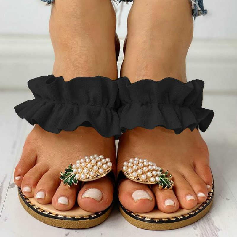 Women Slipper Pineapple Pearl Flat Toe Bohemian Casual Beach Sandals Ladies  Shoes Platform 2020 Designer Black Slides Wholesale| | - AliExpress