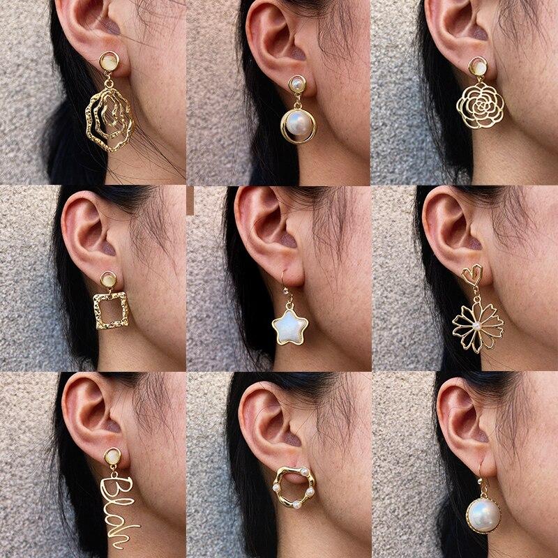 17KM Geometric Flower Earrings For Women Girls Big Oversize Pearl Dangle Earring Hollow Drop Earrings NEW Jewely