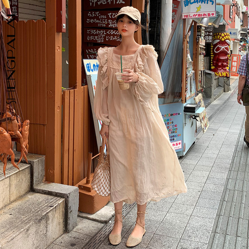 SHENGPALAE 2020 New Spring Loose Square Lace Stitching Ruffled Dress Long Puff Sleeve Ankle-Length Casual Vintage Korean FT807