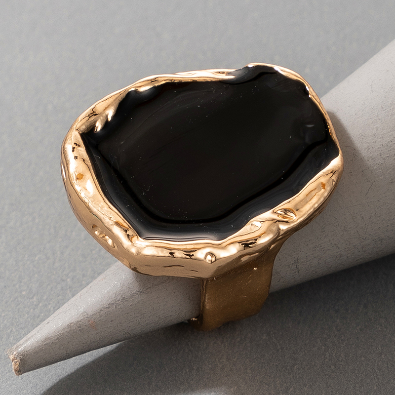 Tocona Bohemian Black Stone Ring for Women Charming Gold Color Alloy Metal Big Joint Ring Jewelry Gift Drop Shipping 16916