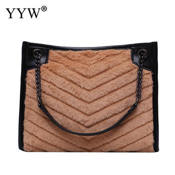NEW Winter Plush Shoulder Bags For Women 2020 Faux Fur Crossbody Bag Solid Color Warm Big Capacity Tote Bag Bolsa Feminina