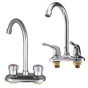 Image 3 - 洗面器の蛇口 360 回転スパウトキッチンタップデュアルハンドル水栓シンク洗面台のコールミキサータップ浴室台所の蛇口