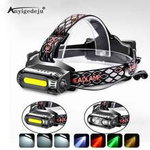 цена на ANYIGE USB Rechargeable LED Headlamp Rotatable lamp holder 8 Light Mode LED COB Super Bright Headlight Use 18650 Green/Red/White