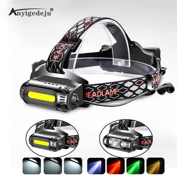 цена ANYIGE USB Rechargeable LED Headlamp Rotatable lamp holder 8 Light Mode LED COB Super Bright Headlight Use 18650 Green/Red/White онлайн в 2017 году