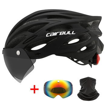 Outdoor Road Mountain Bike Helmet with Rear Light In-mold Riding Cycling Helmet with Visor & TT Lens Sports Mtb Bicycle Helmet 1
