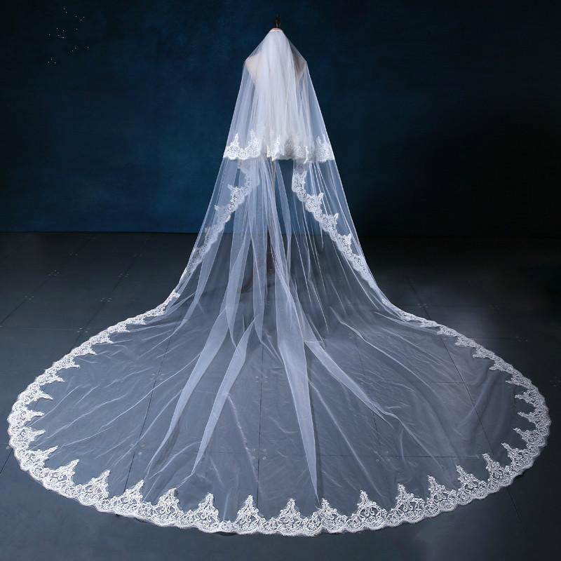 White and Ivory Cathedral Length Bridal Veil Lace Edge Wedding Accessories with Comb Veu De Noiva longo