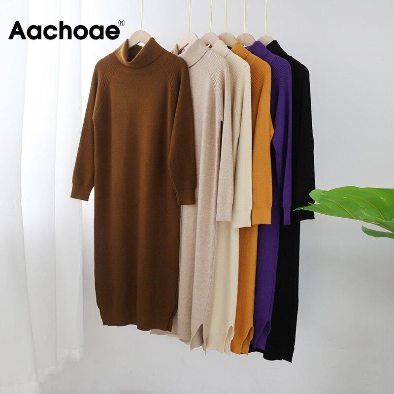 Aachoae Solid Knitted Long Dress Women Autumn Winter Turtleneck Long Sleeve Sweater Dress Lady Split Loose Casual Dress Vestidos 5