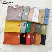 New summer cute animal embroidery t-shirt women short sleeve O-Neck t-shirt women's Harajuku unisex