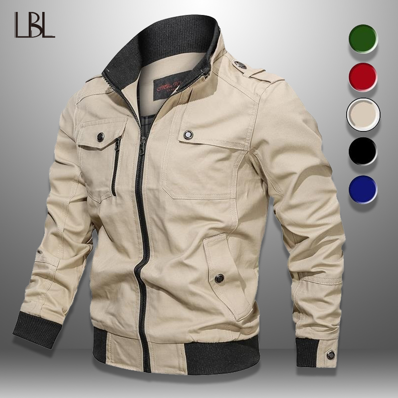 Men's Bomber Jacket Spring Autumn Military Pilot Coat Zipper Tactical Mens Jackets Motorcycle Cargo Air Force Flight Coats 2020