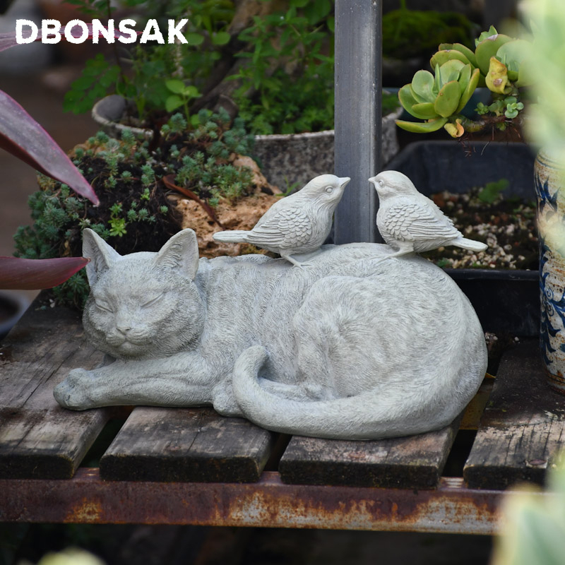 Outdoor Kitten Bird Ornaments Resin Lazy Grey Cat Figurines Decoration Garden Villa Lawn Landscape Animal Crafts Sculpture Decor