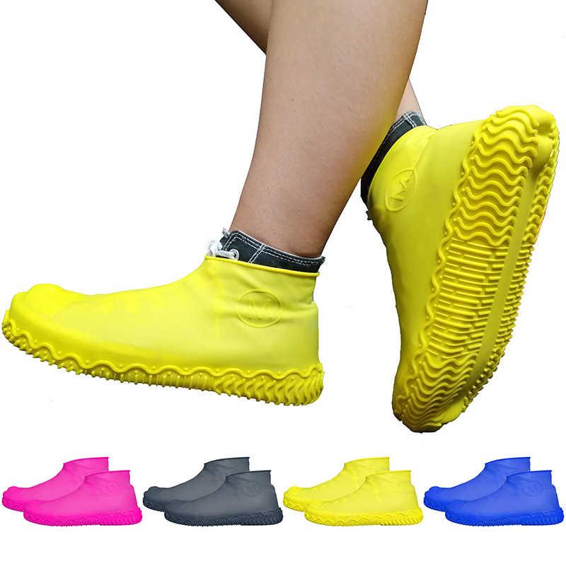 1 çift silikon kaymaz su geçirmez ayakkabı kapağı, yeniden kullanılabilir yağmur botu motosiklet bisiklet Overshoe, mavi sarı erkekler kadınlar için